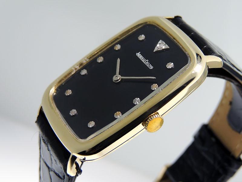Jaeger-LeCoultre Fancy Square case Vintage Diamond 14k Yellow Gold  9046 Black Dial Retail Vintage