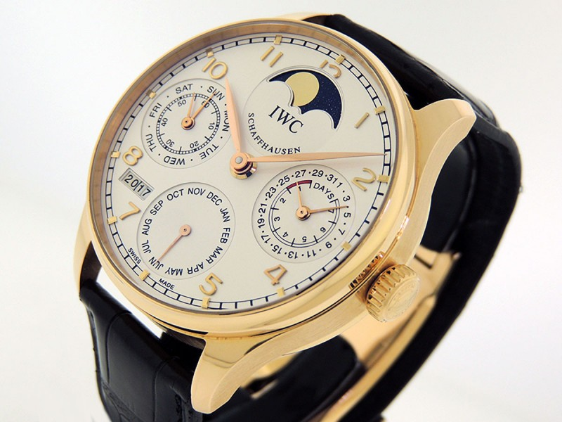 "IWC Portuguese Perpetual Calendar II IW5022.13 "" Single Moon"" 7 Day Power Reserve Retail $31,900"