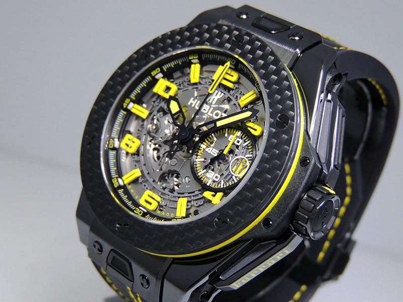Hublot Big Bang Unico Ferrari 45mm 401.CQ.0129.VR Ceramic Skeleton Grey Dial Carbon Fiber Bezel Retail $29,800