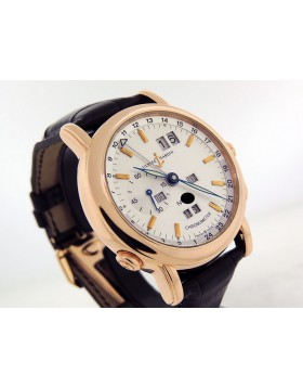 Ulysse Nardin Perpetual Calendar GMT ± 322-88-91 18k Rose Gold 40mm Silver Dial Retail Price $45,000