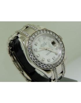 Rolex Lady Pearlmaster White Gold MOP DIal Diamond Bezel Diamond Bracelet 80299